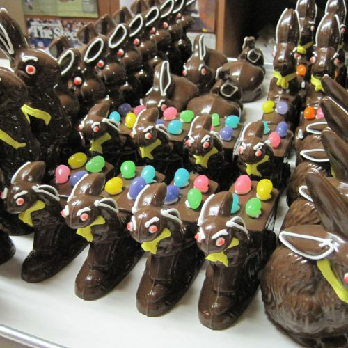 Chocolate bunnies lined up