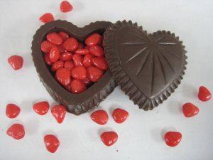 Chocolate heart box with cinnamon candies